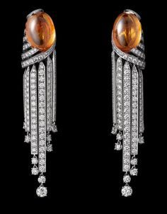 Cartier White Gold Earrings - two cabochon-cut mandarin garnets totaling 24.21 carats, brilliants