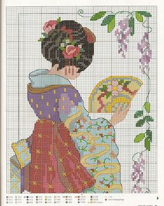 Oriental Geisha, cross-stitch chart - top part.