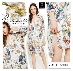 """""""Romantic story -Vipxchange"""" by vipxchange ❤ liked on Polyvore featuring National Tree Company, floral, romantic, dress and vipxshop"""