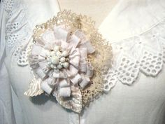 Fabric Flower Pin Brooch Corsage  Delicate by PickleBerryTrifles, $32.50