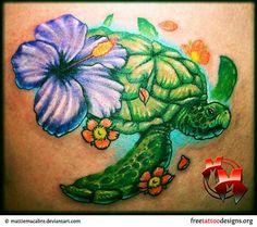 Purple-Hibiscus-Flower-And-Turtle-Tattoo.jpg (700×620)