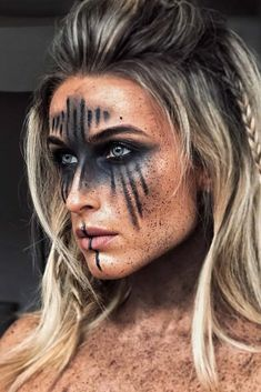 Are you looking for ideas for your Halloween make-up? Check out the post right here for creepy Halloween makeup looks. : Are you looking for ideas for your Halloween make-up? Check out the post right here for creepy Halloween makeup looks. Cosplay Makeup, Costume Makeup, Krieger Make-up, Viking Makeup, Elven Makeup, Witch Makeup, Vikings Halloween, Warrior Makeup, Beautiful Halloween Makeup