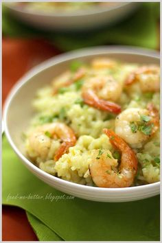 Risotto with prawns and peas