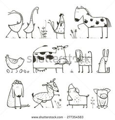 stock-vector-funny-cartoon-farm-domestic-animals-collection-for-kids-coloring-page-countryside-cottage-animals-277354583.jpg (450×470)