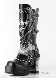 Spawn Skull Womens Knee Boot by Hades Alternative MS-SPAWN Gothic Clothing, Steampunk, Goth Boots, Gothic Jewelry - Gothic Plus