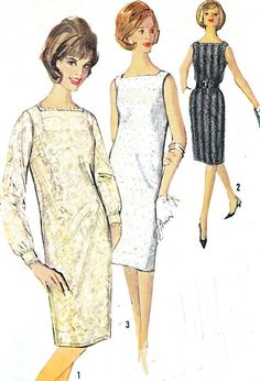 Vintage 1960s Simplicity 5490 dress and slip. Dress features a square neckline with darts and back zipper closing. View 1 may be made in all
