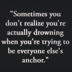 Being an anchor may mean you're drowning