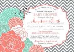 Baby Shower, Bridal Shower Invitation, Coral & Mint Flowers