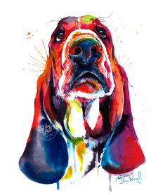 Colorful Basset Hound Art Print Print of my by WeekdayBest