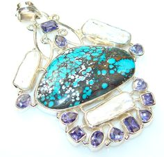 $59.55 Instant Classic Turquoise Sterling Silver Pendant at www.SilverRushStyle.com #pendant #handmade #jewelry #silver #turquoise