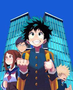 Boku no Hero Academia || Uraraka Ochako, Tenya Iida, Midoriya Izuku, Katsuki Bakugou.