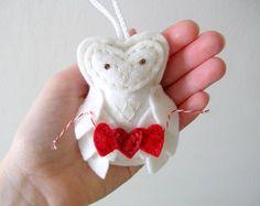 Felt Owl Decor Valentine Ornament Red Heart by OrdinaryMommy