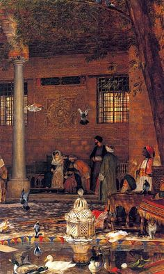 Details from The Hosh Courtyard of the Coptic Patriarch, Cairo,1864  By John Frederick Lewis (English , 1805 - 1876 ) Oil on canvas