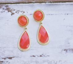 Orange drop of color earrings.