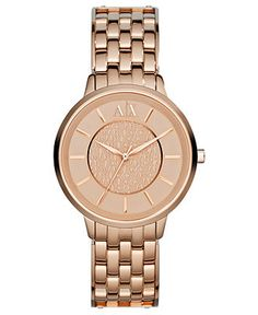 A|X Armani Exchange Watch, Women's Rose Gold Ion-Plated Stainless Steel Bracelet 38mm AX5305 - Women's Watches - Jewelry & Watches - Macy's