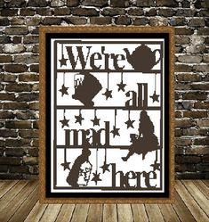 We re All Mad Here Alice In Wonderland Cross by CrossStitchVillage