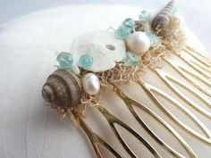 Seashell and Gemstone Hair Comb Beach wedding by NyeDesigns, $18.00