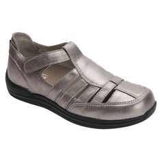 Drew Women's Ginger Casual Leather Mary Jane Flat Shoes Dusty Pewter 14321