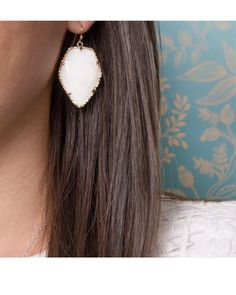 """Faceted black banded agate stones shine in the Corley Earrings by Kendra Scott. French hook. Rhodium Gunmetal Plated Brass. Size: 1.31""""L x 1""""W on earwire"""