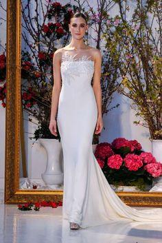 anne barge spring 2017 bridal sleeveless illusion boat straigh across  embellished neckline simple chic elegant sheath wedding dress low v back  sweep train ... f62502395f14