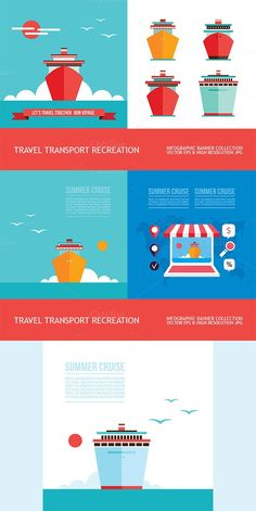 Boat icon & Summer cruise banner set. Business Infographic