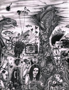 Ziusudra and the Flood  by dAeve Fellows    Ink and graphite on paper, 2012