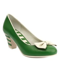 Look what I found on #zulily! Green & Cream Elsie Leather Pump #zulilyfinds