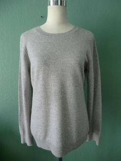 NWOT McDUFF ESSENTIALS Black Label GRAY 100% CASHMERE SWEATER LARGE #McDuffEssentials #Crewneck