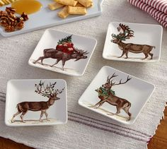 Silly Stag Appetizer Plates, Mixed Set of 4 | Pottery Barn