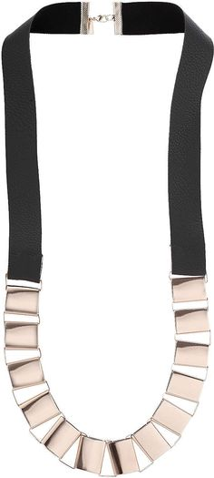 Womens rose gold box chain leather necklace from Topshop - £15 at ClothingByColour.com