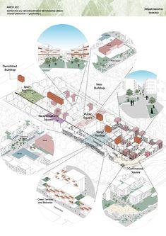 Plan Concept Architecture, Collage Architecture, Site Analysis Architecture, Architecture Design, Architecture Diagrams, Social Housing Architecture, Architecture Antique, Urban Design Concept, Urban Design Diagram