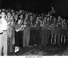Czechoslovakia - Prague 1950. Young and enthousiastic university students volunteering to work in heavy industry such as coal -…