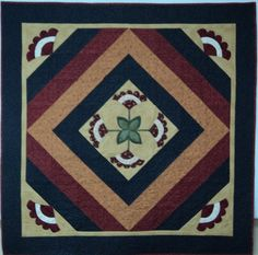Quilted Wall Hanging Cockscomb Red Tan Blue and by HollysHutch, $112.00