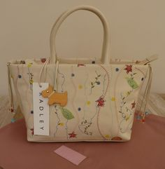 Radley Cream Small/Medium Hand/Grab Bag - 'English Country Garden'