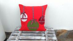 Christmas felt pillow Christmas decorative pillow by LinaArtStudio