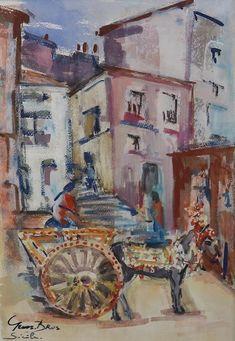 BEL-ARTE verloop, Germaine Brus - Aquarel - Sicilië - 30 cm * 45 cm Fauvism, Impressionism, Still Life, Portrait, Canvas, Projects, Painting, Color, Art