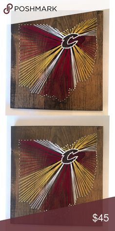"Cleveland cavs string Art Cleveland Ohio string Art . Cavaliers 12x12"" dark oak stain . Handmade. Hanger on the back. Perfect for a gift or man cave decor ! Other"