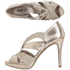 Womens Fioni NightWomen's Halo Chop-Out Glitter Sandal My Wedding Shoes. I know they don't look comfy but they are!