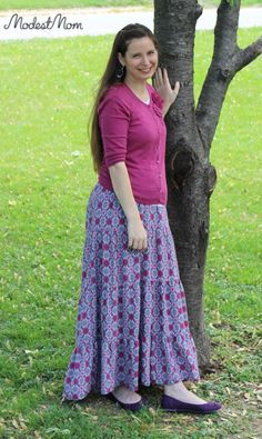 Maxi skirts with elastic waists work great for postpartum moms!