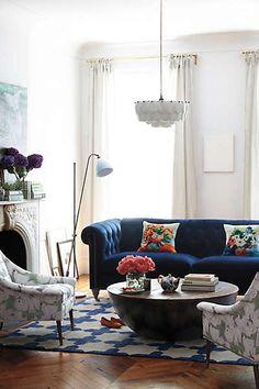 anthropologie velvet lyre chesterfield sofa