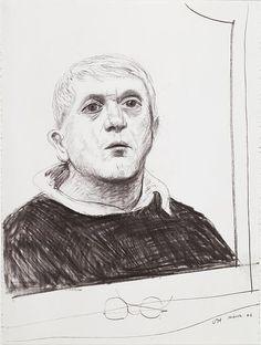 David Hockney, Selfportrait, mars 2001, Fusain sur papier Aquarelle Arches, 76,5 x 57 cm. paris, Centre Pompidou.