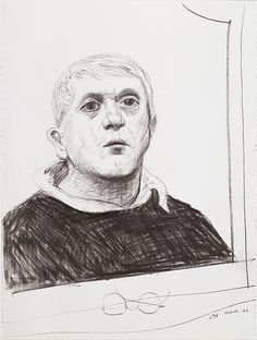 David Hockney, Selfportrait, mars 2001, Fusain sur papier Aquarelle Arches, 76,5 x 57 cm. paris, Centre Pompidou.