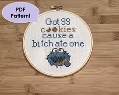 PATTERN Cookie Monster Jay Z 99 Problems Rap Lyric Funny Cross Stitch Pattern for Hoop - Wall Decor/Art for Home NSFW