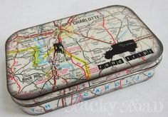 Don't throw away that empty Altoids tin, upcycle it into something fantastic. Fun DIY craft ideas that will inspire you to make something awesome! Map Crafts, Tin Can Crafts, Travel Crafts, Geek Crafts, Altered Tins, Altered Art, Decoupage, Mint Tins, Tin Art