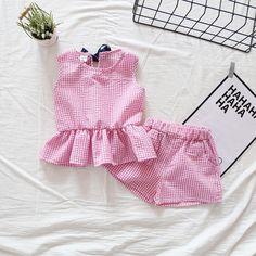 Summer Children Girls Cute Baby Plaid Lattice Vest Ruffles Sleeveless Shirts + Shorts 2pcs Kids Clothes Suits #Affiliate