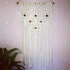 Macramé wall hanging with wooden beads. 50cmx110cm #macrame #macramewallhanging #sznurki #handmade #hantverk #rekodzielo