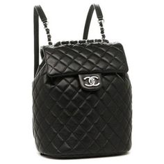 Brand Shop AXES: Chanel bag CHANEL Lady's 94305 lambskin silver metal fittings rucksack backpack BLACK - Purchase now to accumulate reedemable points! Backpack Purse, Black Backpack, Leather Backpack, Chanel Handbags, Purses And Handbags, Chanel Bags, Chanel Shoes, Luxury Bags, Luxury Handbags