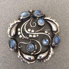 """Georg Jensen """"Moonlight"""" Brooch No. 159 with Moonstones, Handmade Sterling Silver, ca. post 1945."""