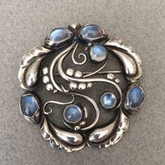 "Georg Jensen ""Moonlight"" Brooch No. 159 with Moonstones, Handmade Sterling Silver, ca. post 1945."