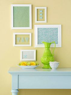 Rub-ons applied to glass quickly update basic picture frames. Pair the designs with framed pieces of pretty patterned paper for a low-cost gallery. @ Home Design Ideas Diy Wall Art, Wall Decor, Framed Scrapbook Paper, Framed Fabric, Framed Wall, Easy Home Decor, Mellow Yellow, Blue Yellow, Decorating On A Budget